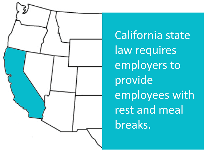 California state law requires employers to provide meal and rest breaks