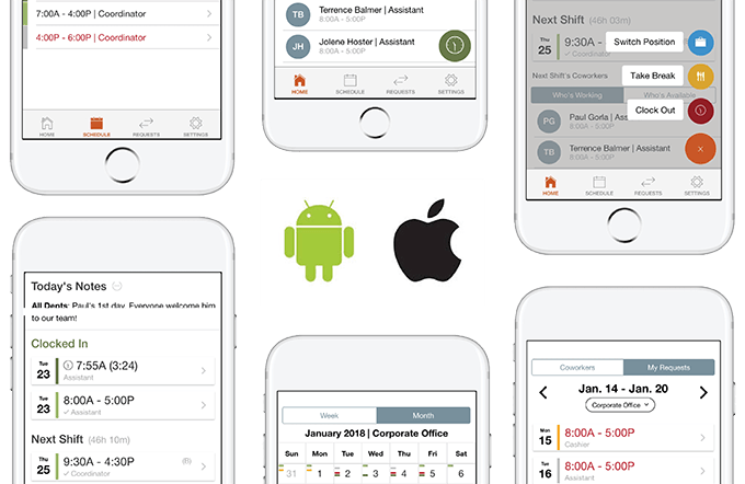 Start and end breaks from your iOS or Android device