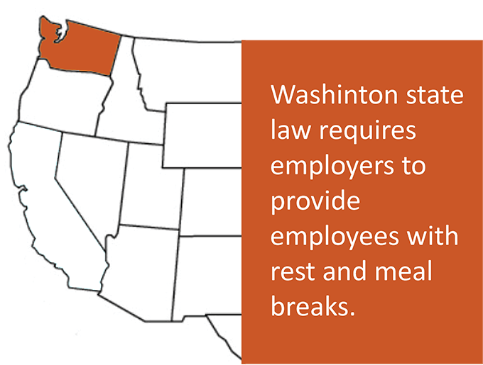 Washington state law requires employers to provide rest and meal breaks