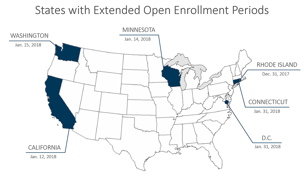 ACA Extended Open Enrollment 2018 States