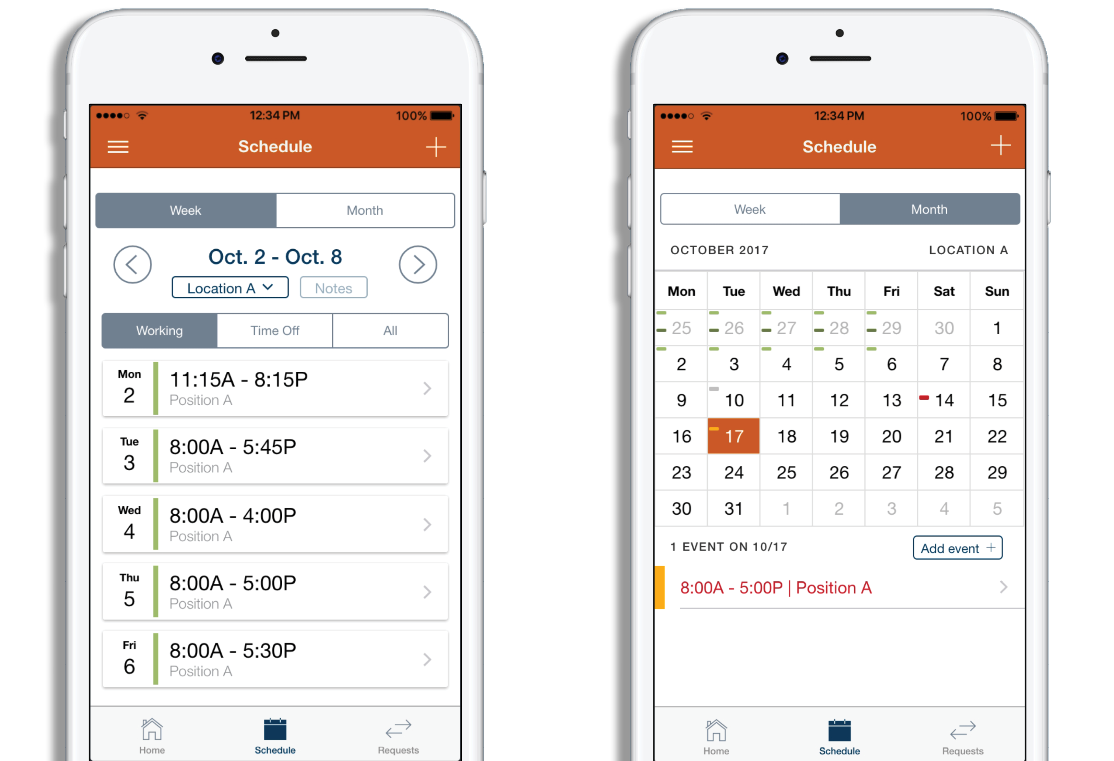 Employee scheduling app on two white phones