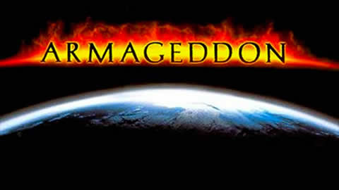 Armageddon title hovering over earth.