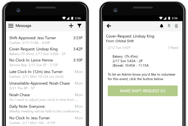 Mobile work scheduling app