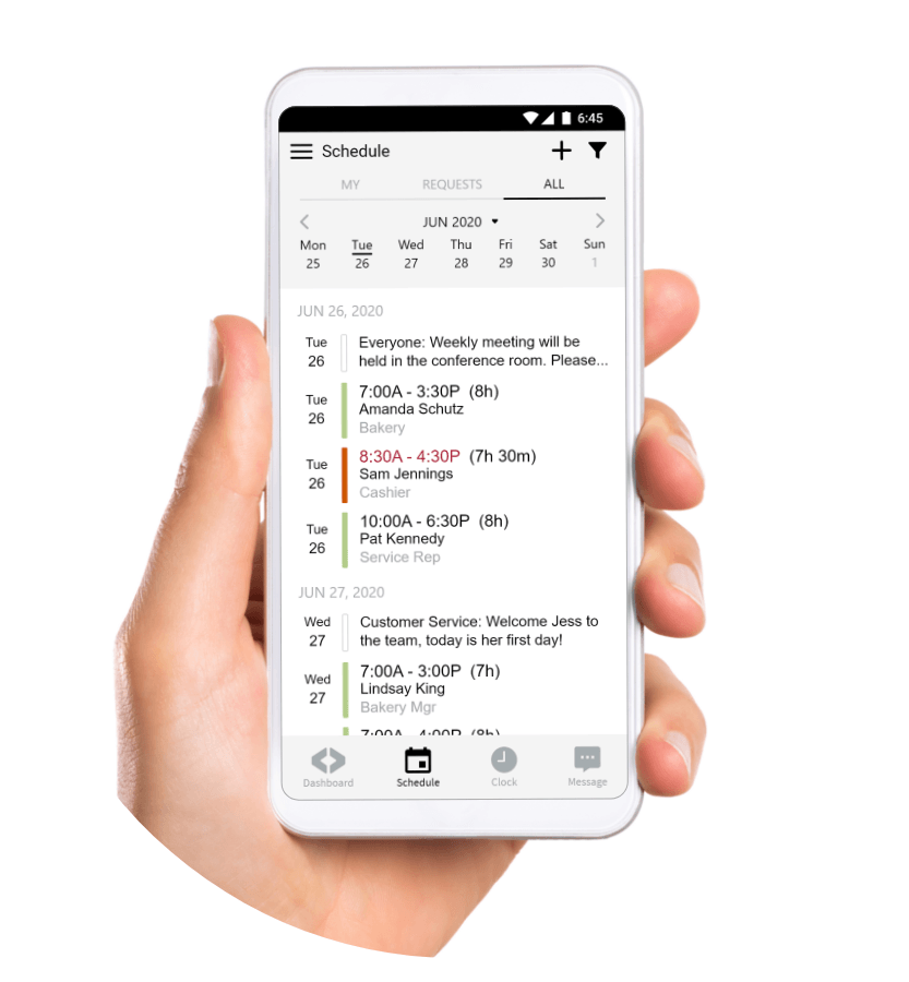 Mobile employee scheduling app
