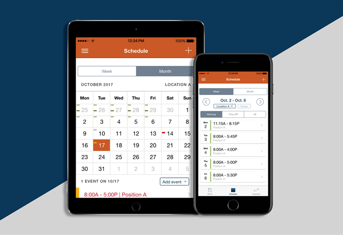 Employee scheduling and mobile time clock apps