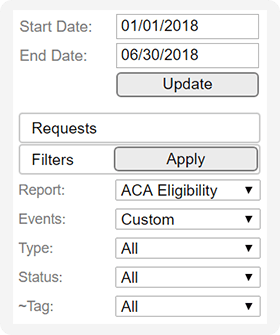 ACA Eligibility report within filter panel of online time clock software.