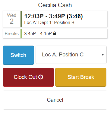 Employee breaks are displayed on punch clock app.